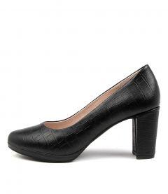 Summer Black Croc Leather