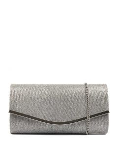 GISELLE CLUTCH SILVER SHIMMER SMOOTH