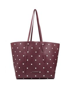 AMY TOTE BURGUNDY DOTS SMOOTH