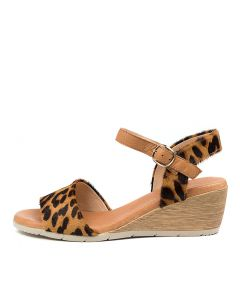 XAIDA DF LEOPARD DK TAN PONY LEATHER