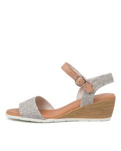 XAIDA DF WHITE DOT DK NUDE SUEDE LEATHER